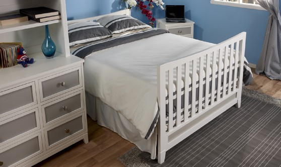 Pali treviso crib converted to full size bed white gray