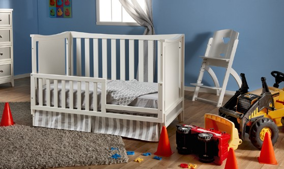 Pali treviso crib converted to toddler bed white gray