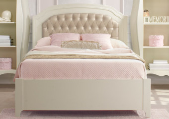 Natart Allegra Double Bed with Low Footboard and Tufted Panel