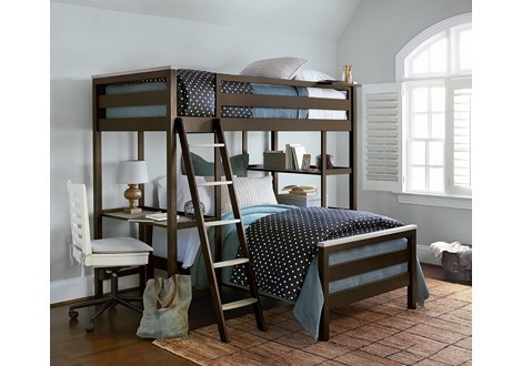 SmartStuff MyRoom Metal Loft Bunk Bed With Lower Twin And Ladder