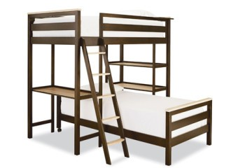 SmartStuff #myRoom Metal Loft Bunk Bed with Lower Twin Metal Bed and Metal Loft Ladder