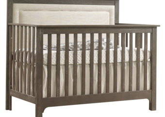 Emerson Collection 5 in 1 Convertible Crib with Linen Weave Upholstered Headboard Panel 2-Mink with Talc Fabric