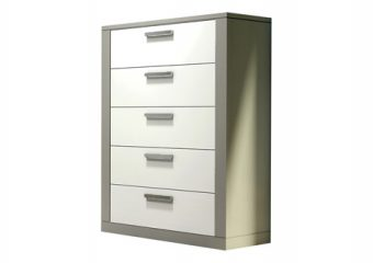 Milano 5 Drawer Elephant Grey and WHite Dresser