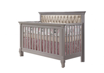 Natart Belmont Convertible Crib in Elephant Gray with Platinum Tufted Panel
