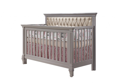 Belmont Convertible Crib With Platinum Tufted Panel By