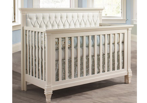 ... Natart Belmont Convertible Crib In White With White Tufted Panel ...
