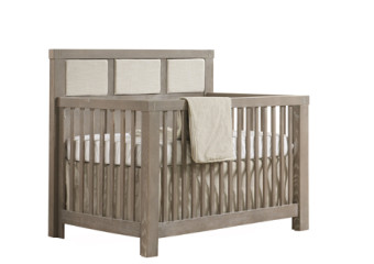 Natart Rustico 4-in-1 Convertible Crib with Upholstered Panel in Sugar Cane