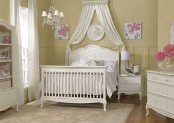 ANGELINA CRIB IN FRENCH WHITE CONVERTED TO FULL BED ROOM VIEW