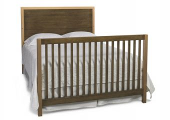 NICCO CRIB IN BROWN AND GOLD CONVERTED TO FULL BED