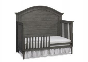 LUCCA CURVE TOP CRIB IN WEATHERED GREY TODDLER RAIL