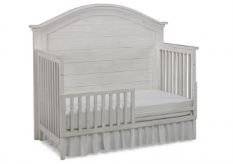 LUCCA Seashell White Crib with Toddler rail