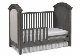 LUCCA Weathered Grey Traditional Crib with TOddler Rail