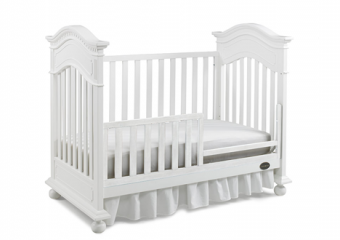 NAPLES traditional crib in snow white with toddler rail