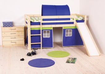Twin Low-Loft Bed with Slide in Natural Blue Curtains and Cover