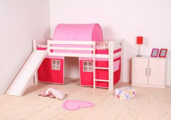 Twin Low-Loft Bed with Slide in Washed White Pink Curtains and Cover