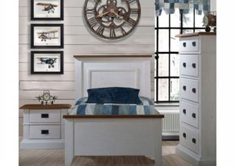 Cortina Twin Bed 39'' White Chalet with Two Tone