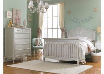 Dolce Babi Angelina Crib Converted to Full Bed in Pearl