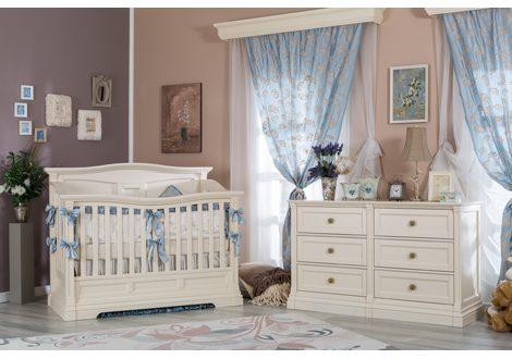 imperio room setting with convertible crib bianco satinato