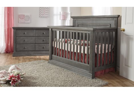 Modena Upholstered Forever Crib & Double Dresser Bundle