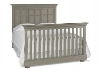 SERENA CRIB IN SADDLE GREY CONVERTED TO FULL BED