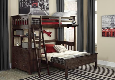Highlands Twin Loft Bed w/ Full Lower Bed
