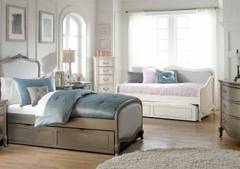 Katherine Twin Bed w Trundle Antique Silver