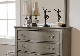 Kensington 3 Drawer Single Dresser and MIrror antique Silver
