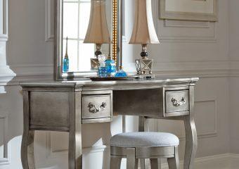 Kensington Vanity and MIrror Antique Silver
