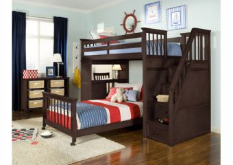 Schoolhouse Bunkbed Twin over Twin Storage Stairs Chocolate Roomshot