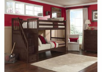 Schoolhouse Bunkbed w Storage Stairs wo Trundle Chocolate Roomshot