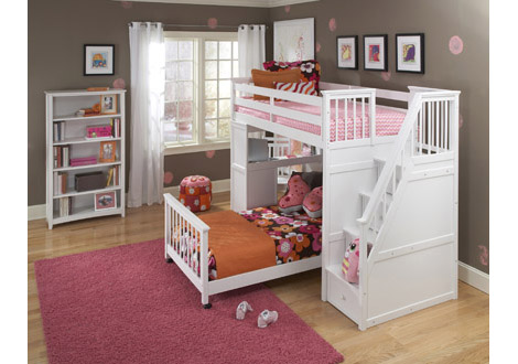 Schoolhouse 4.0 Twin Stair Loft with Desk End and Twin Lower Bed