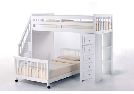 Schoolhouse 4.0 Twin Stair Loft with Chest End and Twin Lower Bed