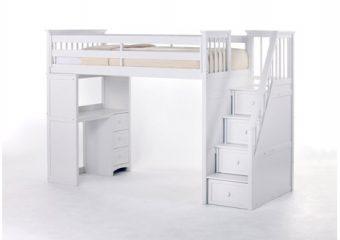 Stairloft Twin w Stair Unit White 1