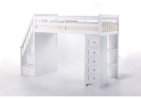 Schoolhouse 4.0 Twin Stair Loft with Chest End