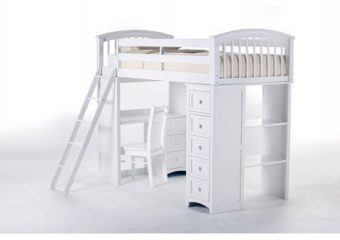 Student Loft Raised Twin w Ladder White 2