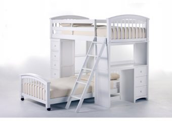 Student Loft Rased Twin over Twin White 1