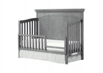 Windsor Flat Top Crib w Toddler Rail Storm Grey