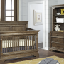 Kerrigan Room View Crib Pier Chest Dresser with Hutch in Cafe Au Lait