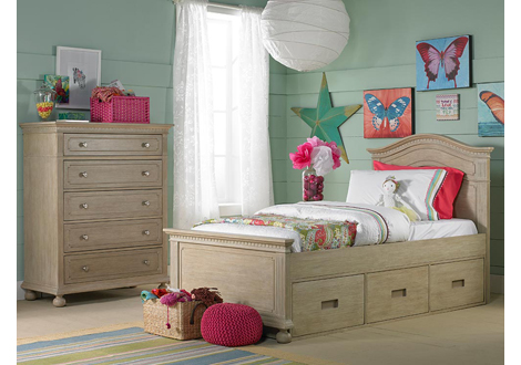 Naples Twin Bed with Underbed Storage Unit in Driftwood & Naples Twin Bed with Underbed Storage Unit in Driftwood By Dolce ...