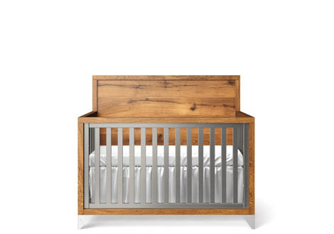 Pandora Convertible Oak Panel Crib