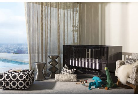 Vetro Crib in Shadow with Acrylic Frame