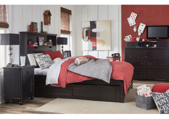 crossroads full upholstered bookcase bed