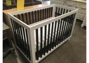 black and white modern crib