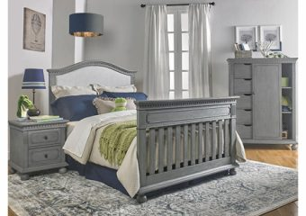 Naples Upholstered Crib in Nantucket Grey Converted to Full Bed