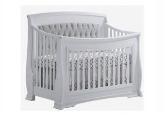 Bella Crib in White in Grey Panel