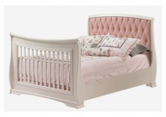 Bella Double Bed With Upholstered Panel Blush Pink