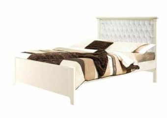 Belmont Double Bed French White with White Tufted Panel