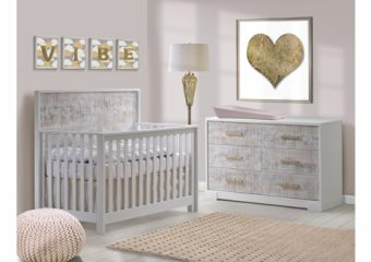 Vibe-Collection-Convertible-Crib-Double-Dresser-in-white-with-white-bark-antique-brass-pulls-featuring-Matty-in-soft-pink-1