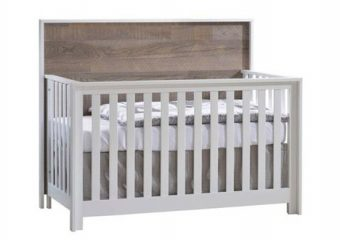 Vibe Crib White with Brown Bark