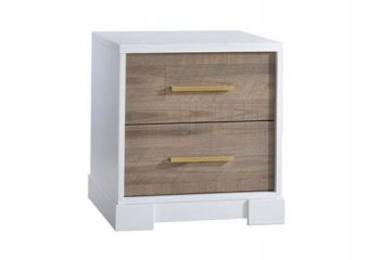 Vibe Nightstand White with Brown Bark